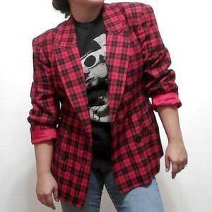 Vintage Red Black Plaid Blazer Evan Picone ILGWU
